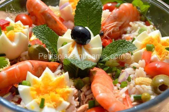 recette salade de riz au thon et crevettes