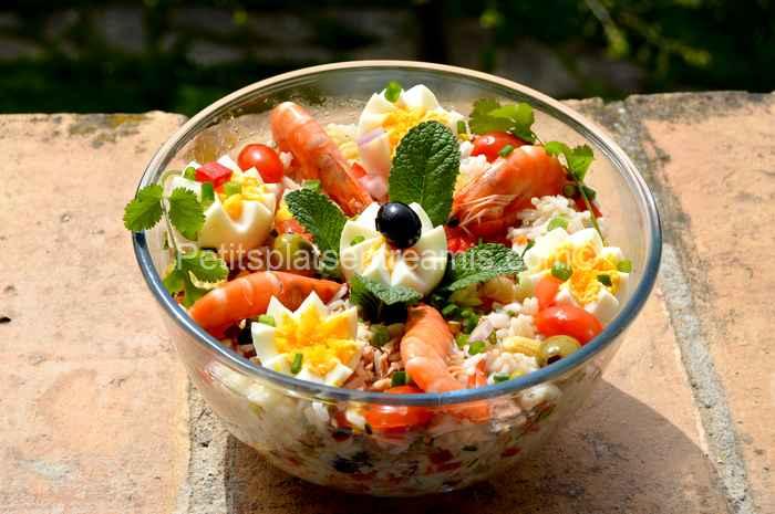 salade de riz au thon et crevettes recette