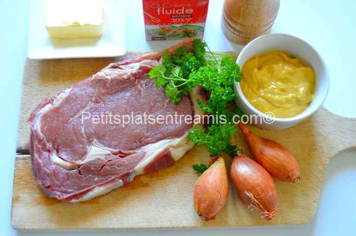 Ingrédients pour entrecôte à la moutarde