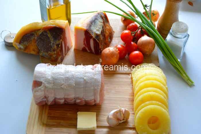 Ingrédients pour rôti-de-porc-à-l'ananas-et-au-jambon-de-Bayonne