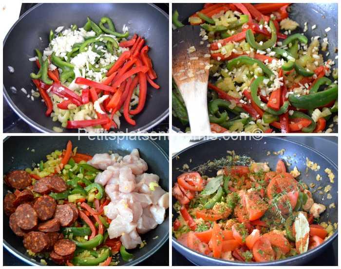 cuisson légumes et viande pour jambalaya