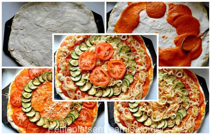 garnissage de la pizza au basilic