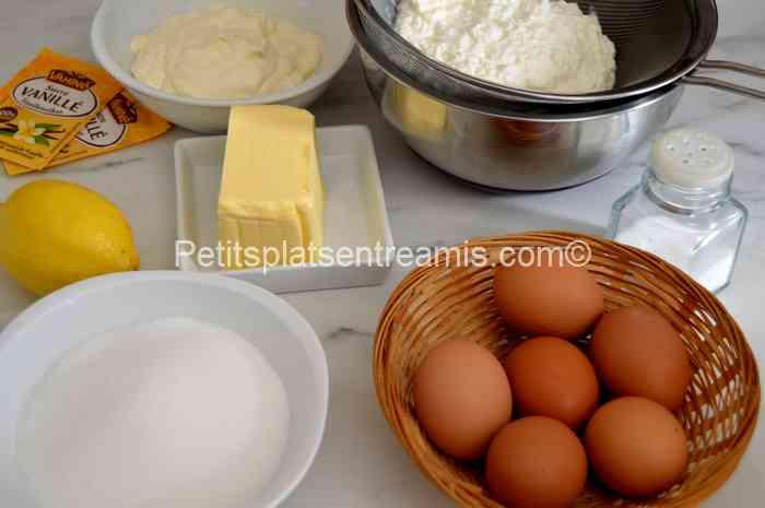 ingrédients pour Gâteau au fromage blanc