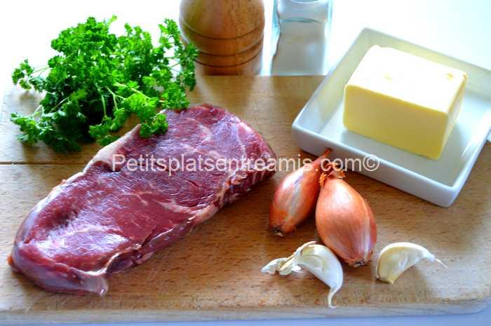 ingrédients pour faux-filet au beurre persillé