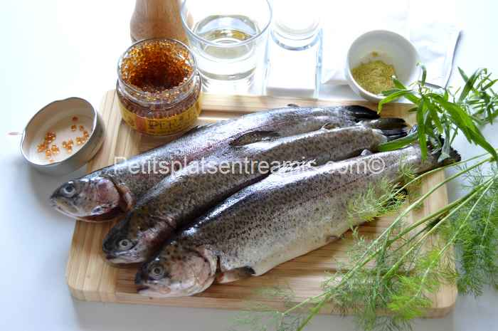 ingrédients pour truite aux perles de vinaigre d'érable