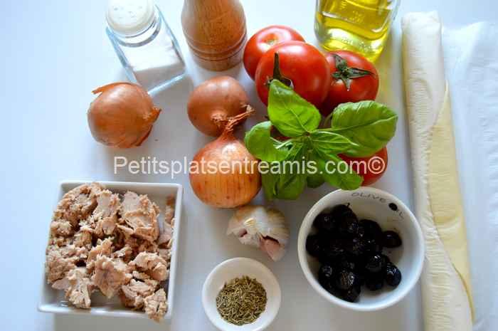 ingrédients tarte thon et tomates