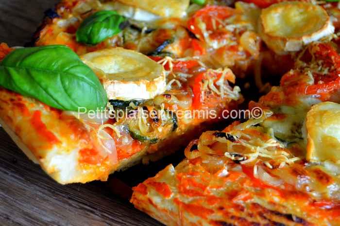 part de pizza au chèvre et basilic
