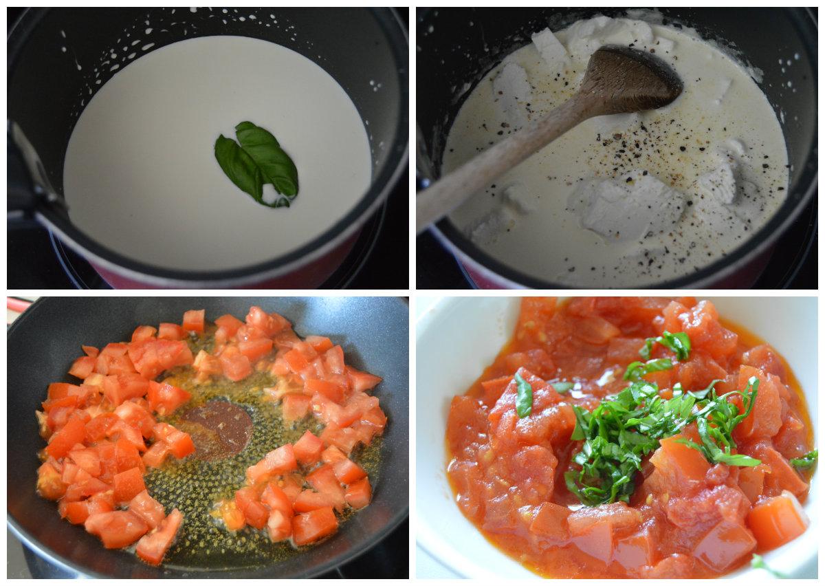 préparation sauce chèvre et tomates