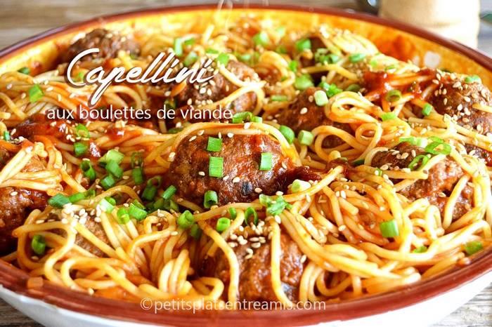 Capellini aux boulettes de viande