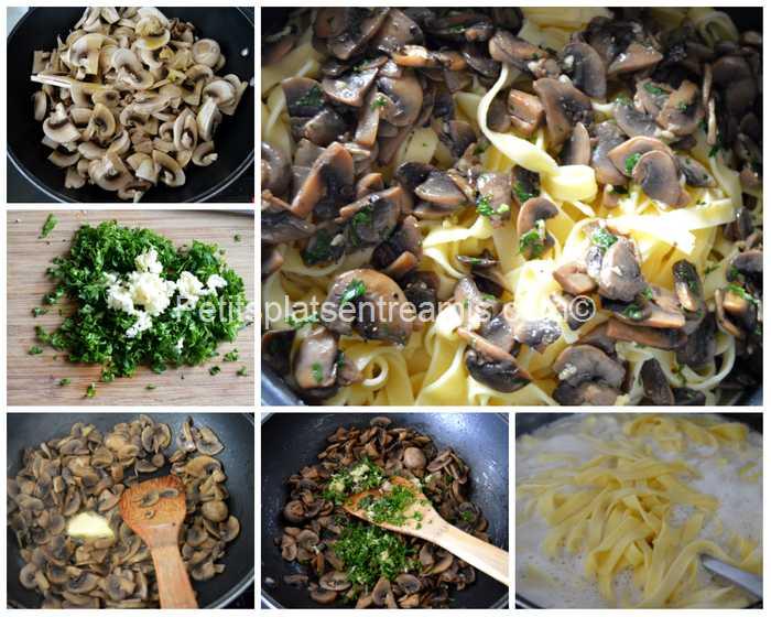 cuisson tagliatelles aux champignons