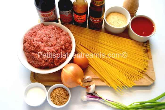 ingrédients pour capellini aux boulettes de viande