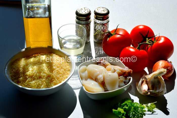 ingrédients pour riz pilaf aux supions