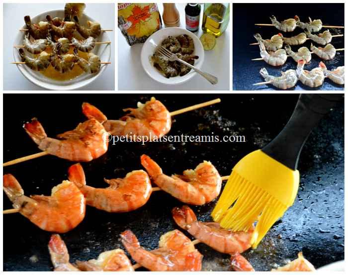 cuisson brochettes de crevettes