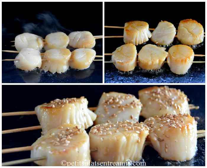 cuisson brochettes de noix de Saint-Jacques