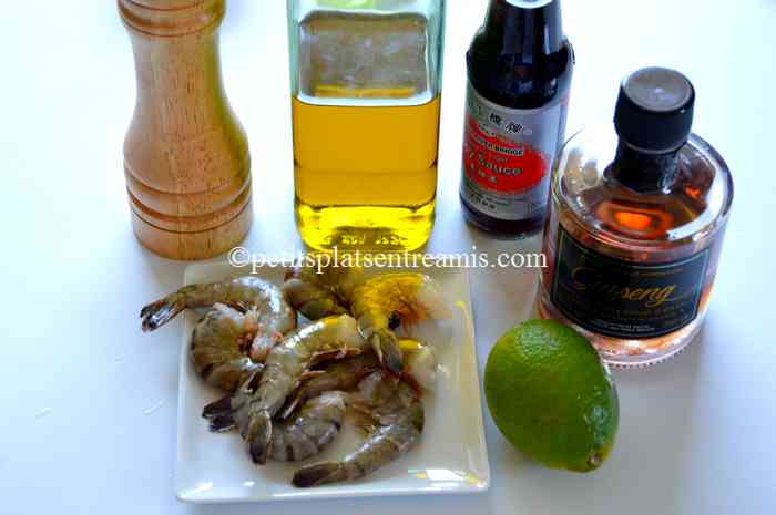 ingrédients brochettes de crevettes