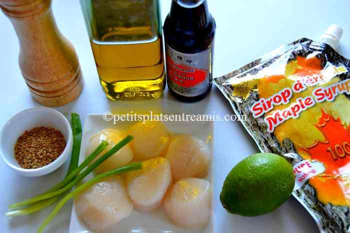 ingrédients brochettes-de-noix-de-Saint-Jacques-au-sirop-d'érable