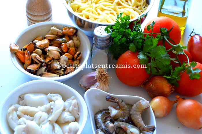 ingrédients pâtes aux fruits de mer