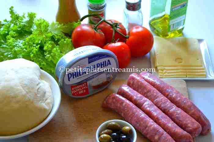 ingrédients pizza-à-la-saucisse-de-Toulouse