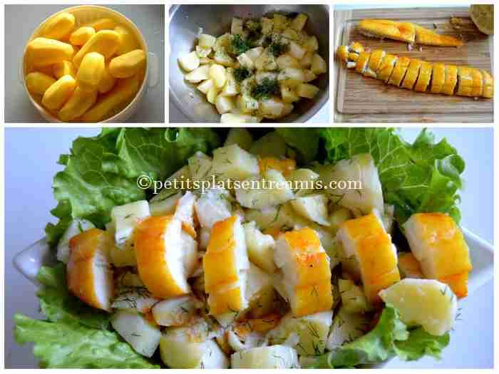 préparation salade de pommes de terre au haddock