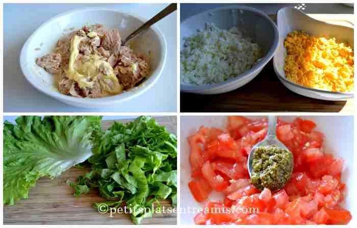 préparation salade de thon