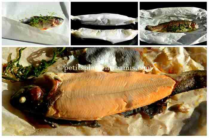 cuisson truite saumonée aux petits légumes