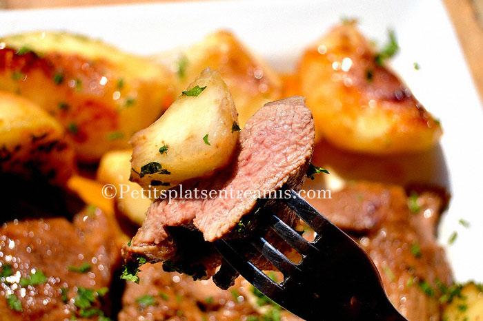 dégustation-tranches-de-gigot-d'agneau-aux-pêches-blanches