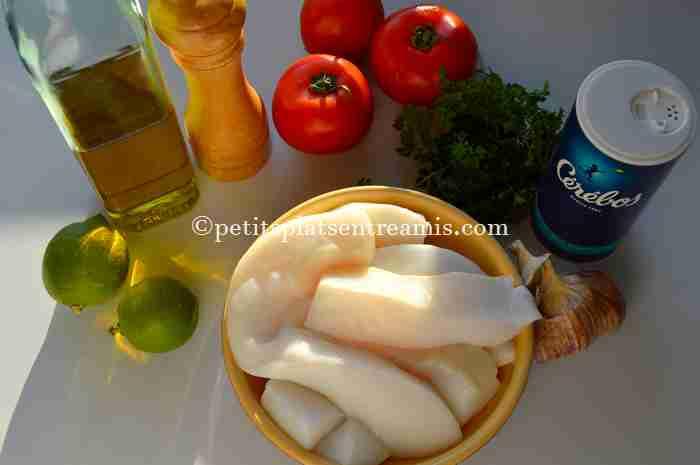 ingrédients blancs de seiche à la plancha