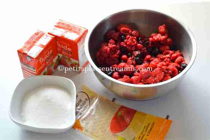 ingrédients pour mousse-aux-fruits-rouges