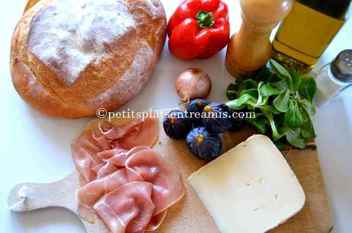 Ingrédients tartine au jambon de pays et figues