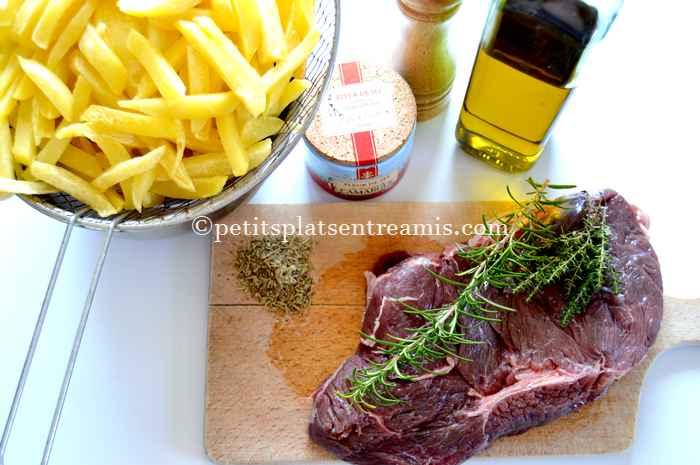 ingrédients Rumsteak grillé et frites maison