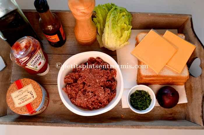 ingrédients pour steak haché façon hamburger