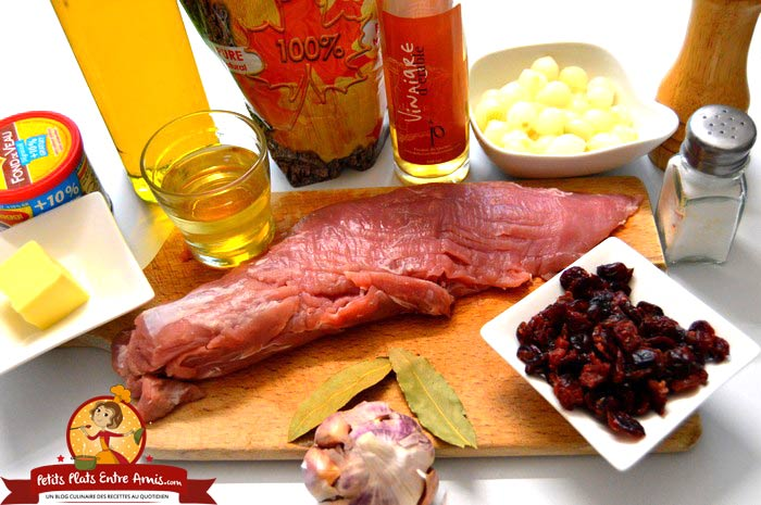 ingredients-pour-filet-mignon-aux-canneberges-et-sirop-derable