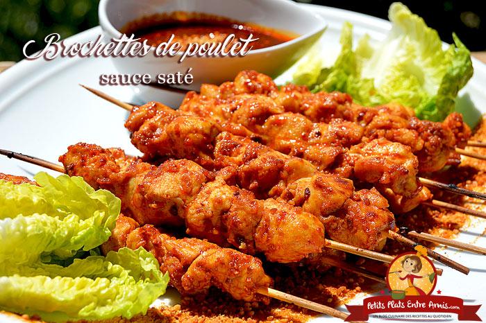 Brochettes de poulet sauce saté