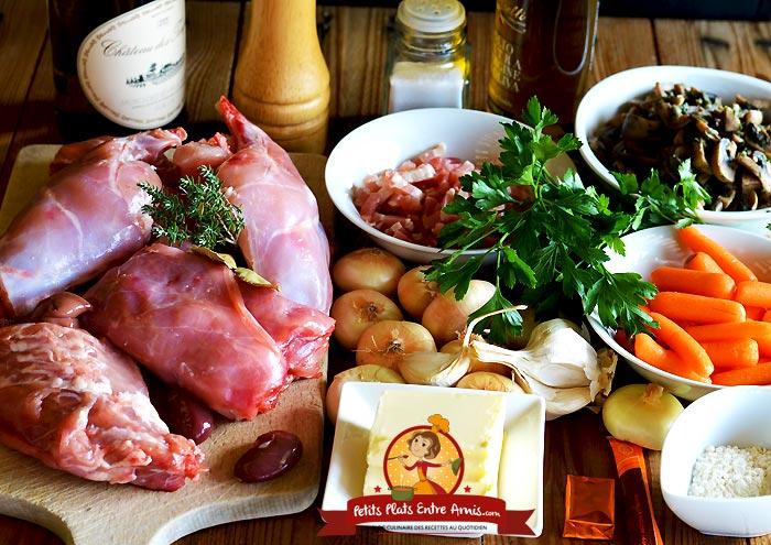 Ingrédients du lapin en cocotte