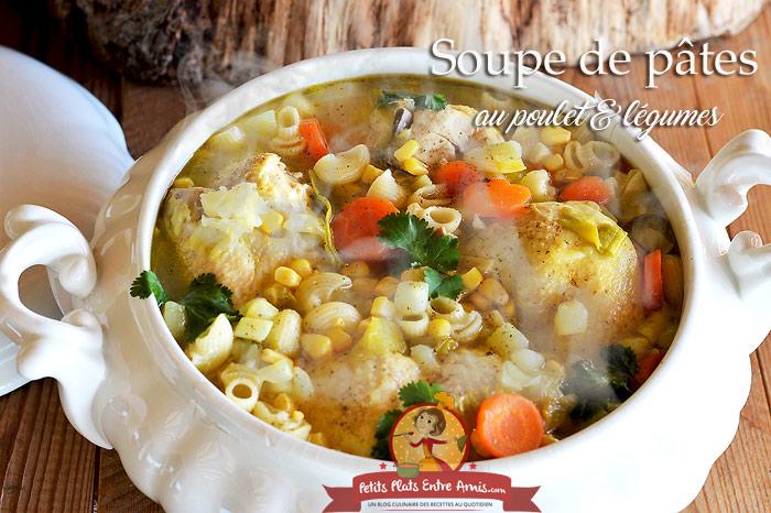 Soupe de pâtes au poulet et légumes