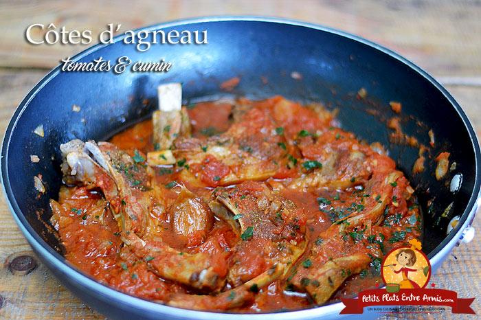 Côtes d'agneau à la tomate et au cumin