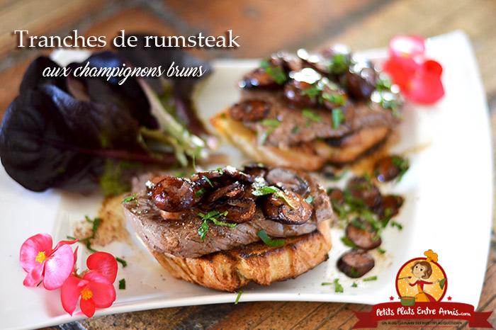 Tranches de rumsteak aux champignons bruns