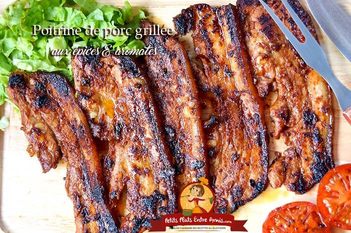 Poitrine de porc grillée aux épices et aromates