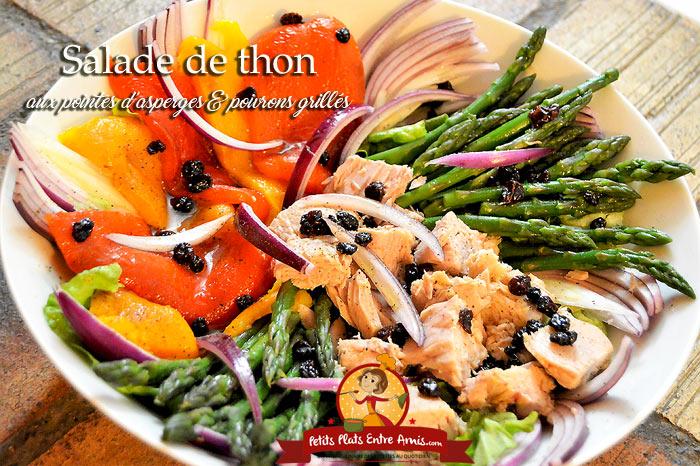 Salade de thon aux pointes d'asperges et poivrons grillés