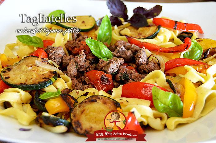 Tagliatelles au boeuf et légumes grillés