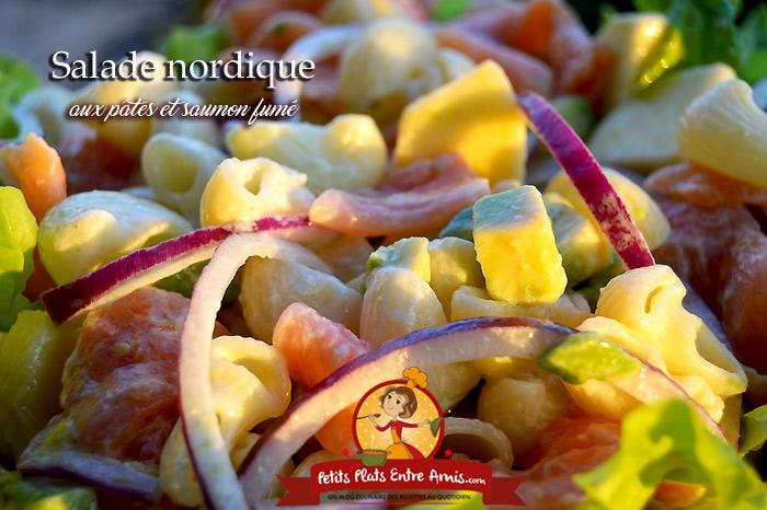 Salade nordique aux pâtes et saumon fumé