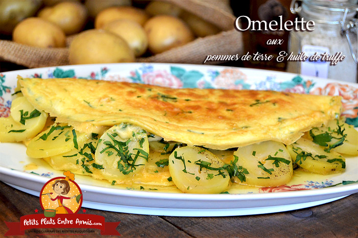 Omelette aux pommes de terre et huile de truffe