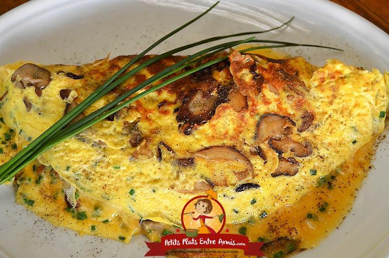Recette d'omelette aux champignons shitake