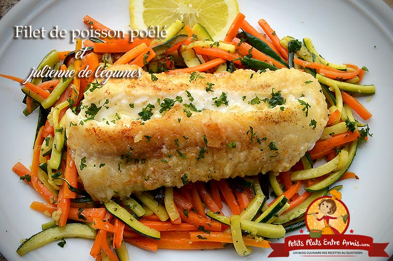 Filet de poisson et julienne de légumes
