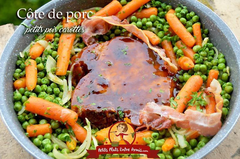 Côte de porc petits pois carottes