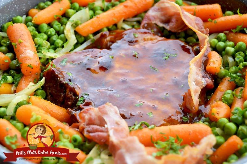 Recette de Côte de porc petits pois carottes
