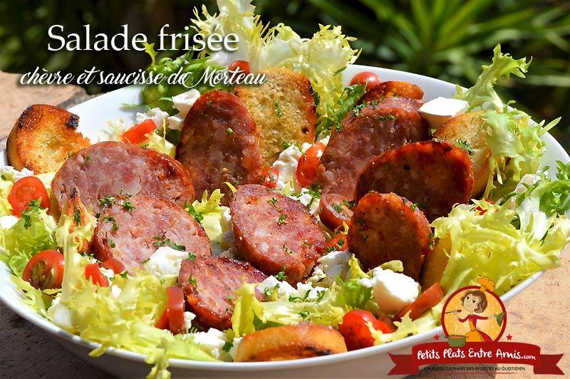 Salade frisée au chèvre et saucisse de Morteau