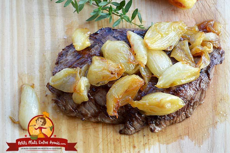 recette de bifteck aux oignons glacés