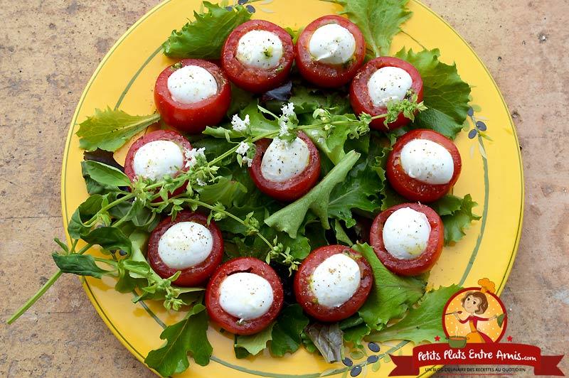 Assiette de tomates mozzarella au pesto