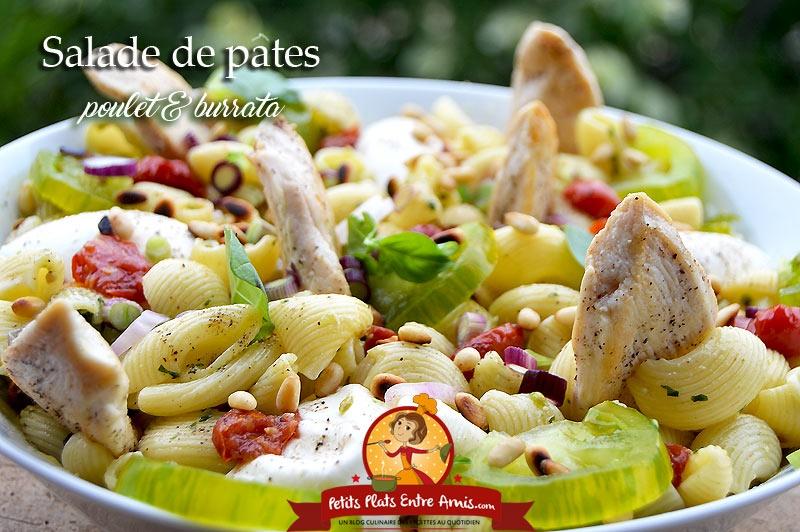 Salade de pâtes au poulet et burrata
